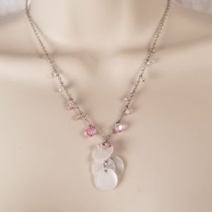 Jewelry - Cookie Lee Silver Slim Chain Necklace With White